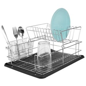 Home Basics 17-in W x 12-in L Metal Dish Rack and Drip Tray