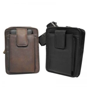 LEATHER GUN BELT POUCH WITH CLIP (6 INCH)
