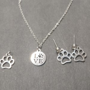 Puppy Love Paw  Earrings & Necklace