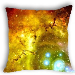 Anlye Yellow Body Pillow Erupt Star Galaxy Pillow case 18x18 Square for Sofa