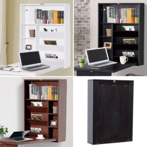 Wall Mount Writing Table Convertible Folding Computer Desk Storage