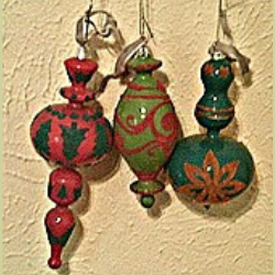 Brightly Flocked Ornaments (special order - sold out)
