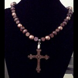 Wood Cross Pendant Necklace OOAK (special order - sold out)