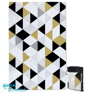 Gold and Black Geometric Triangles Quick Dry Beach Towel