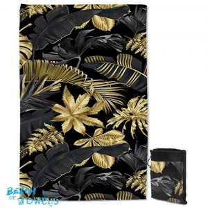 Golden Tropical Leaves Quick Dry Beach Towel