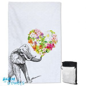 Heart of Flowers and Elephant Quick Dry Beach Towel