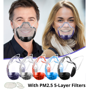 Clear Face Mask With PM2.5 Filters   Transparent Eyeglasses Compatible Durable Washable Mouth Shield