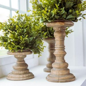 Aged Wood Pillar Candle Holders