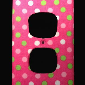 Handmade Fabric Green, Pink & White Dots on Pink Duplex Receptacle Cover
