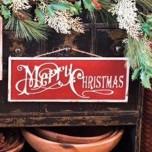 """18"""" Red Merry Christmas Sign"""