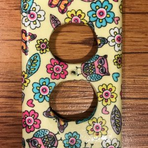 Handmade Fabric Owls, Butterflies and Flowers on Yellow Duplex Receptacle Electric Outlet Cover