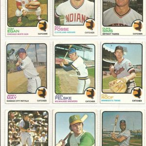 Vintage Lot of 9 Topps Baseball Cards American League Catchers - 1973