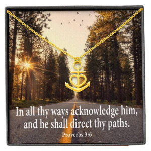 """Acknowledge Him Religious Gift Proverbs 3:6 Anchor Necklace Stainless Steel 16-22"""" Chain"""