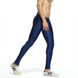 Men's Stretch Workout Nylon solid Silver Tights Lounge Pants
