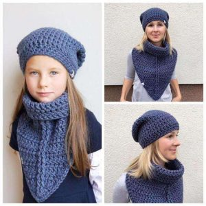 Crochet Pattern - Scarf Cowl Balker and Beanie Hat (Adult and Kids sizes)