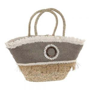 Bag DKD Home Decor Shells Polyester Seagrass (52 x 18 x 50 cm)